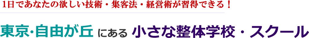 1日でプロの技術が習得できる!整体学校・スクール 東京・自由が丘 メディカル・サービス