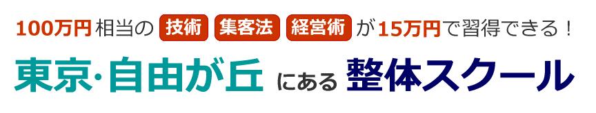 東京・自由が丘にある整体学校・スクール 100万円相当の技術・集客法・経営術が15万円で習得できる!メディカル・サービス